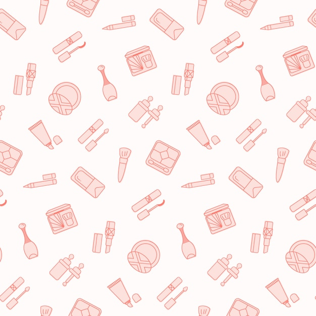 Seamless pattern with flat cosmetics icon. Premium Vector