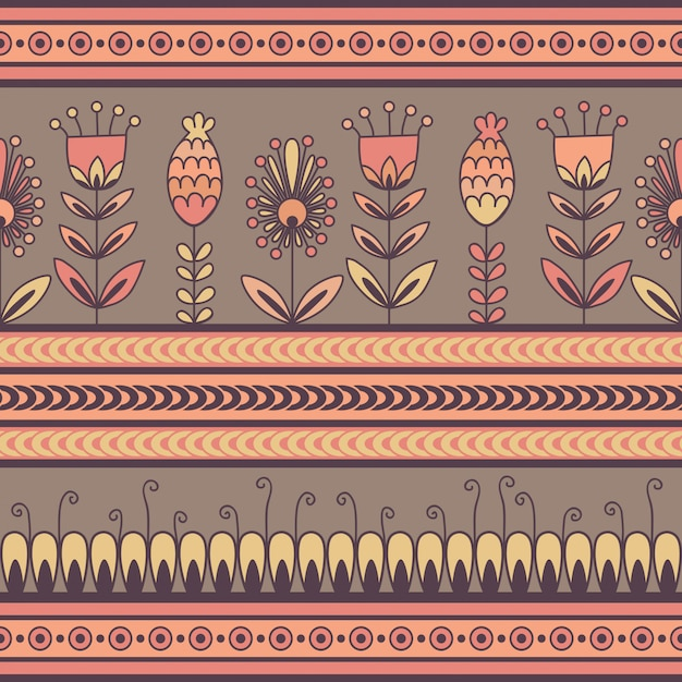 Seamless pattern with floral ornament in the decorative bands Premium Vector
