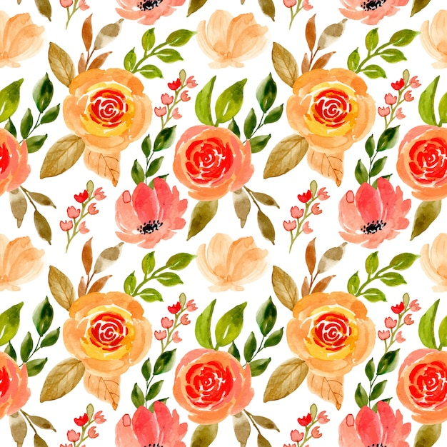 Seamless pattern with floral watercolor Premium Vector