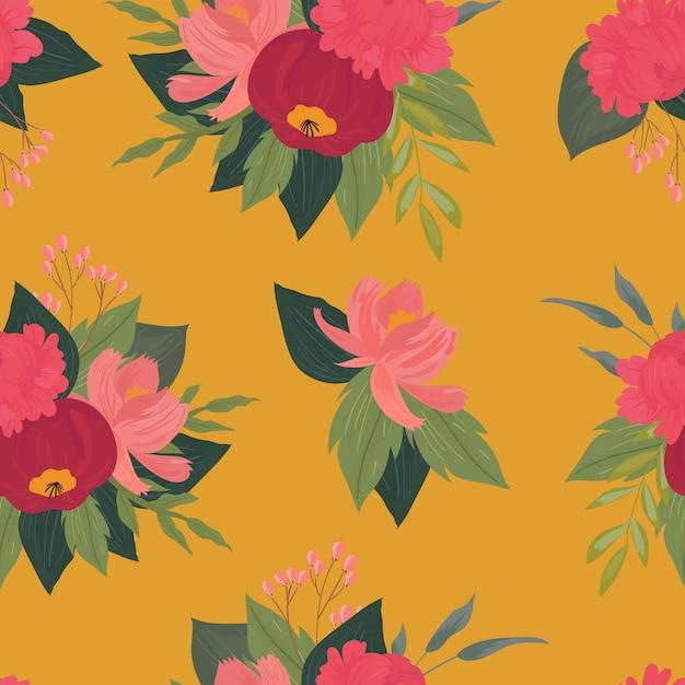 花、枝、葉とのシームレスなパターン。創造的な花のテクスチャ。布、繊維のベクトル図に最適 Premiumベクター