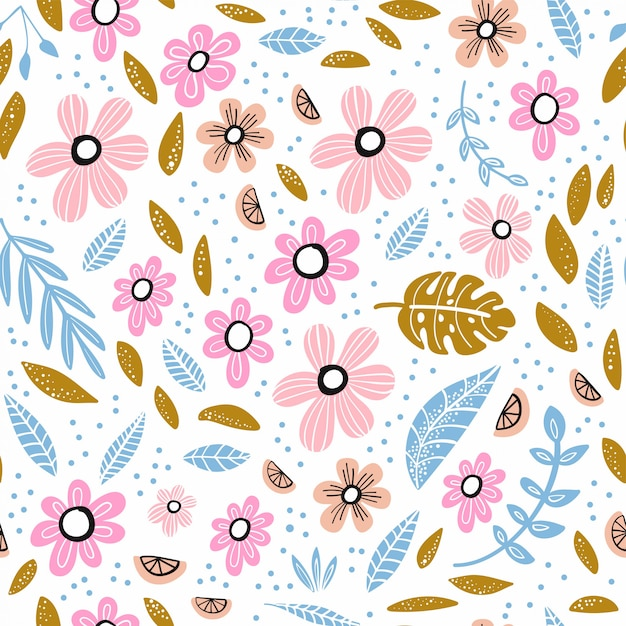 Seamless pattern with flowers, leaves and hand drawn elements. Premium Vector