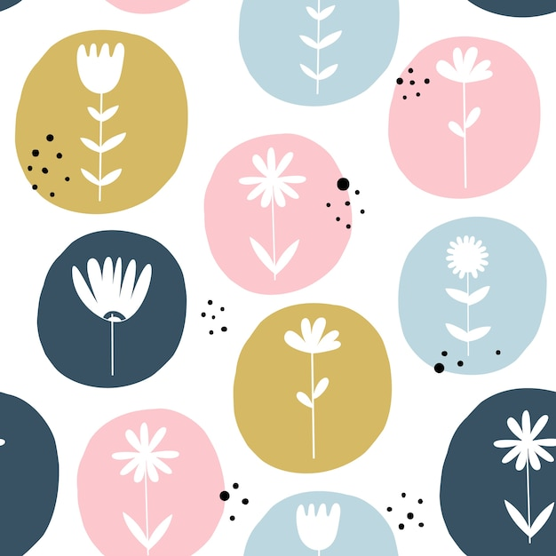 Seamless pattern with flowers. scandinavian style. Premium Vector
