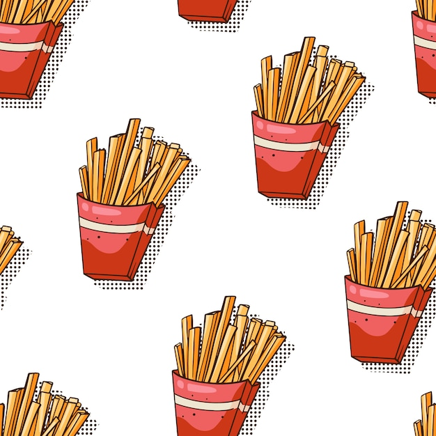 Seamless pattern with french fries on white Premium Vector
