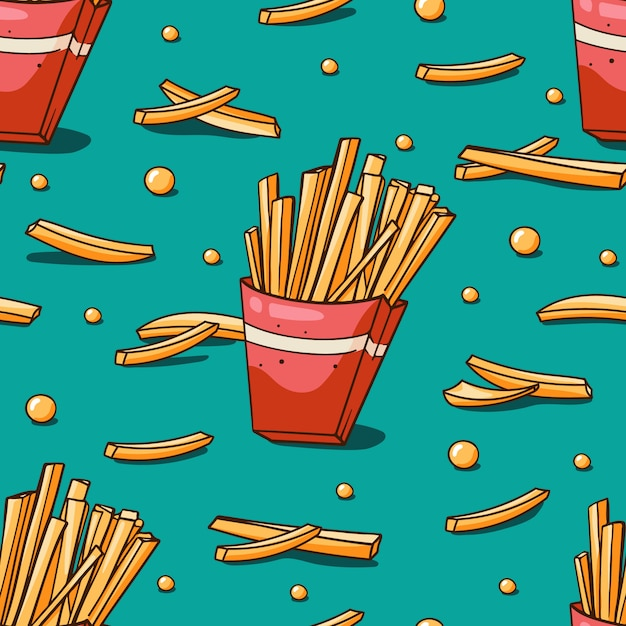 Seamless pattern with french fries Premium Vector