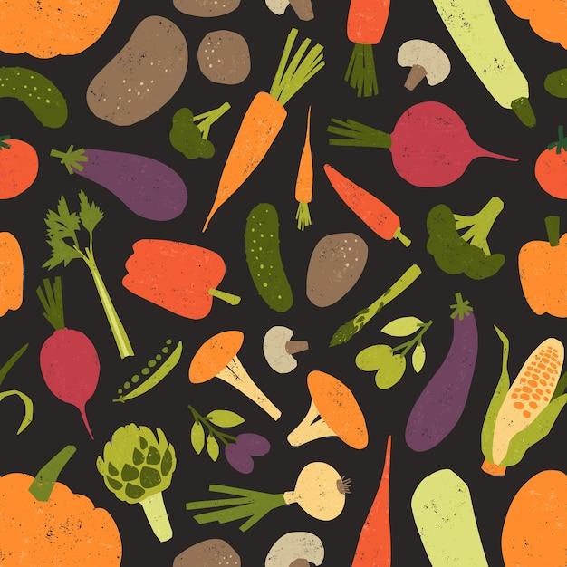 新鮮なおいしい野菜とキノコとのシームレスなパターン Premiumベクター