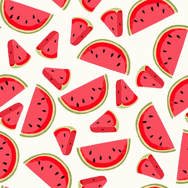 Seamless pattern with fresh watermelon. cute background Premium Vector