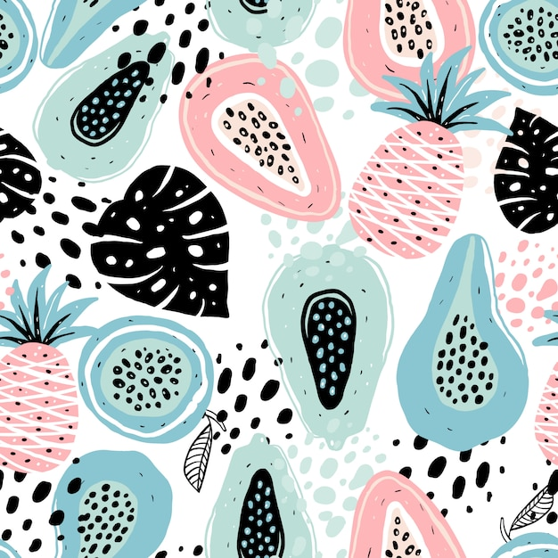Seamless pattern with fruits Premium Vector