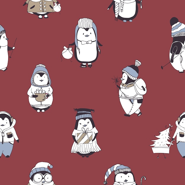 赤にさまざまな冬の服を着ている面白い赤ちゃんペンギンとのシームレスなパターン Premiumベクター
