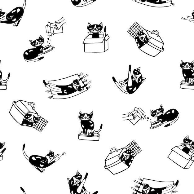 Бесшовный фон с забавной кошкой рисованной в черно-белых тонах. Premium векторы