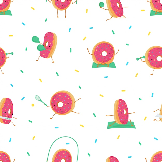 Seamless pattern with funny cute donuts in sports. Premium Vector