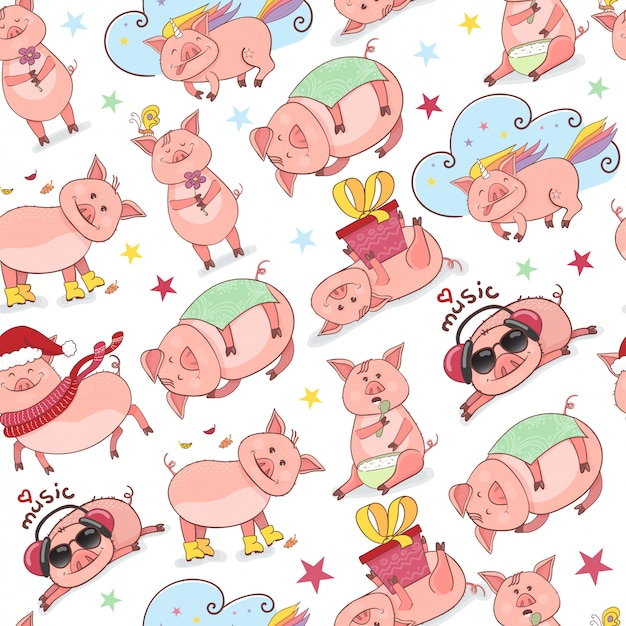 Seamless pattern with funny piggy Premium Vector