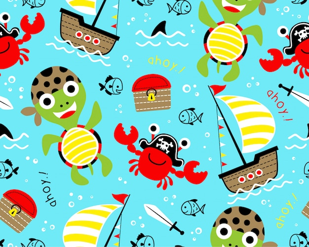 Seamless pattern with funny pirate cartoon Premium Vector