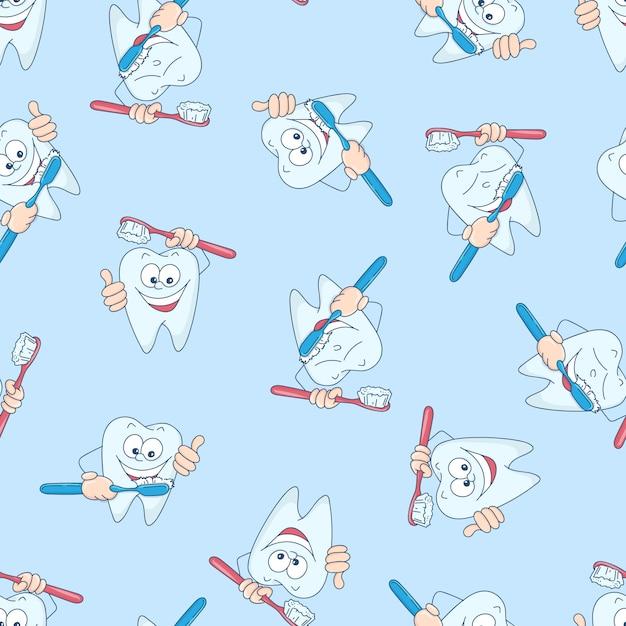 面白い歯とのシームレスなパターン。 Premiumベクター