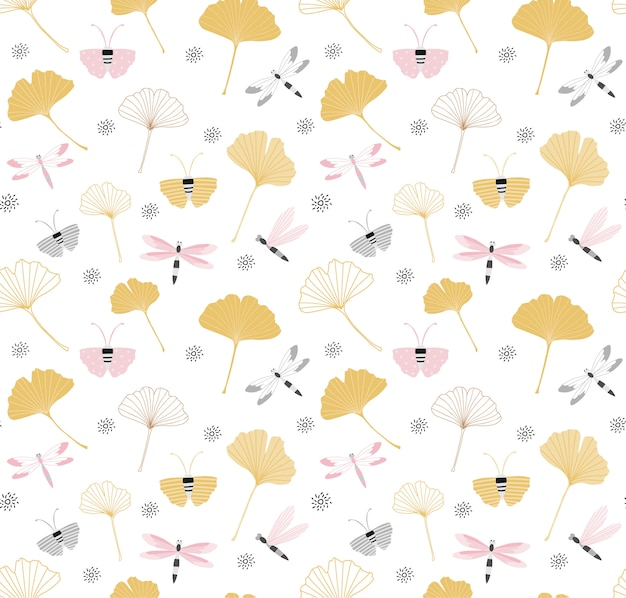 Seamless pattern with ginkgo leaves Premium Vector
