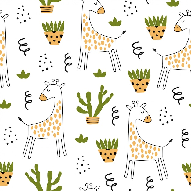 Giraffee와 손으로 그린 요소와 원활한 패턴입니다. 프리미엄 벡터