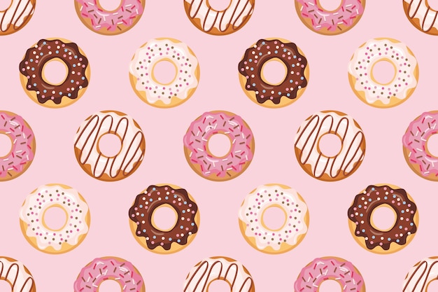 Seamless pattern with glazed donuts Premium Vector
