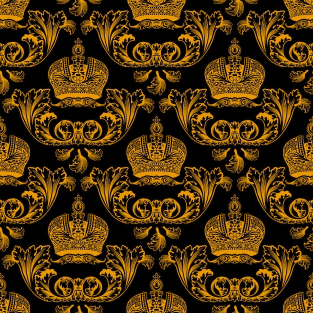 Seamless pattern with gold crowns Premium Vector