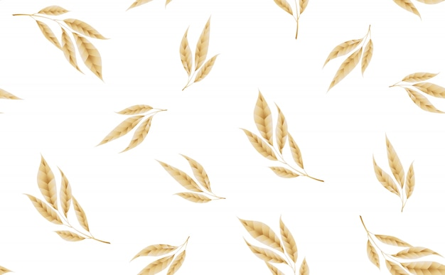 Seamless pattern with gold leaves. Premium Vector
