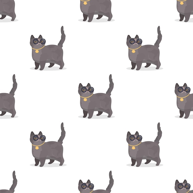 Seamless pattern with gray cat with glasses and gold chain illustration Premium Vector