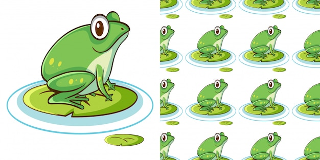 Seamless pattern with green frog on water lily Free Vector