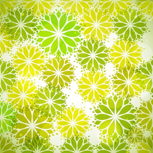Seamless pattern with green leaves in flower\ shape for Nature concept.