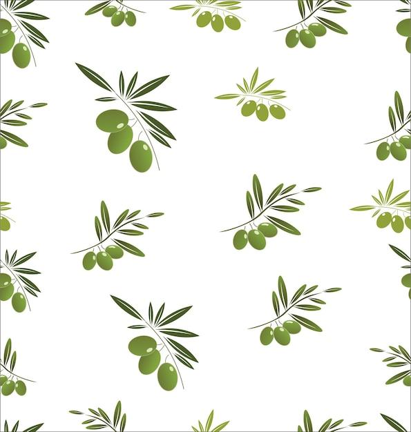 白い背景の上の緑のオリーブの木の枝とのシームレスなパターン Premiumベクター