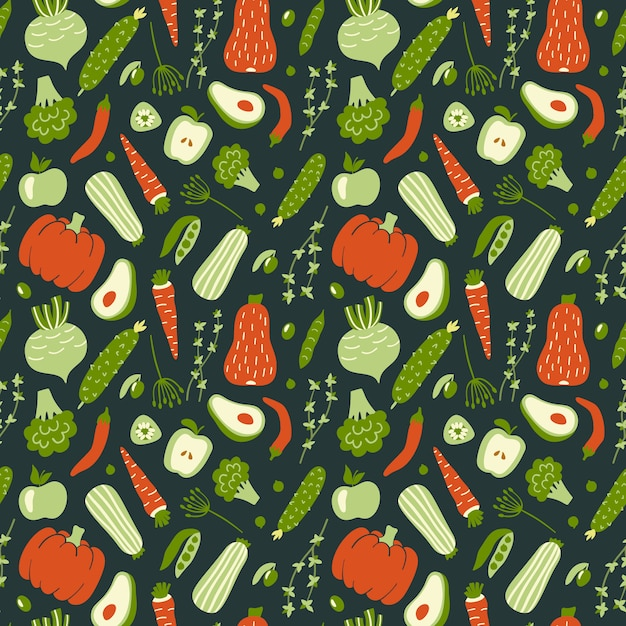 Seamless pattern with green and red vegetables. Premium Vector