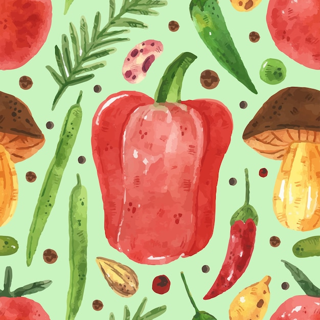 緑、エンドウ豆、豆、ピーマン、葉、トマト、キノコとのシームレスなパターン。水彩風 Premiumベクター
