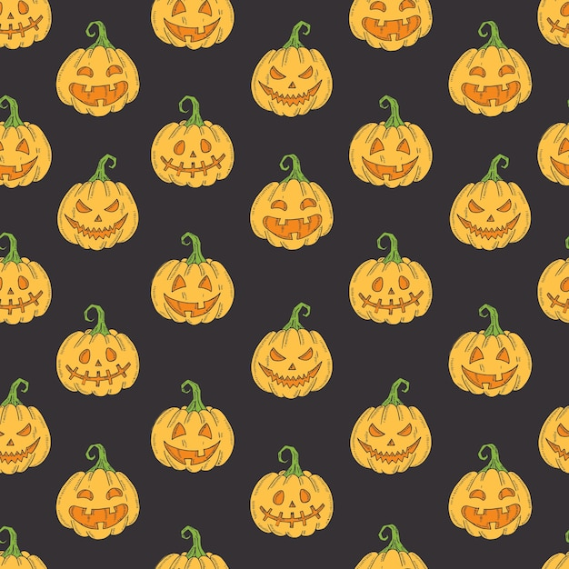 Seamless pattern with halloween colored icons on black Premium Vector