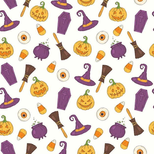 Seamless pattern with halloween colored icons Premium Vector