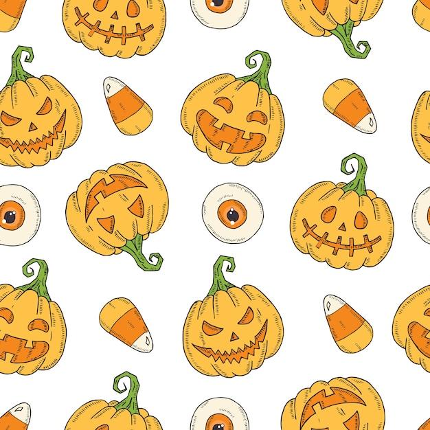 Seamless pattern with halloween colored pumpkin jack Premium Vector
