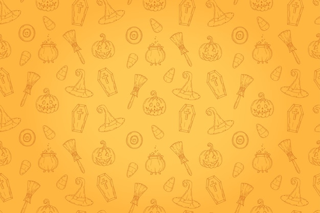 Seamless pattern with halloween icons Premium Vector