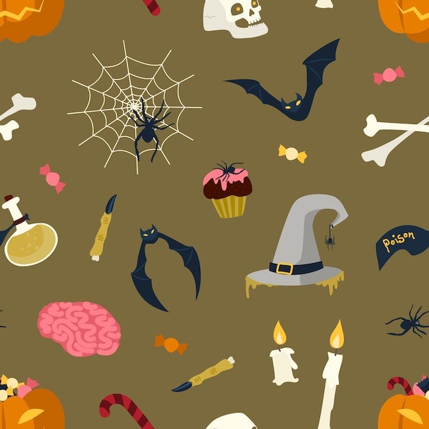 ハロウィーンの魔法のアイテムと暗い背景-ジャック-o-ランタン、魔女の帽子、ポーション、クモの巣、バット、ろうそくのフラスコとフラスコのシームレスなパターン。休日フラットイラスト。 Premiumベクター