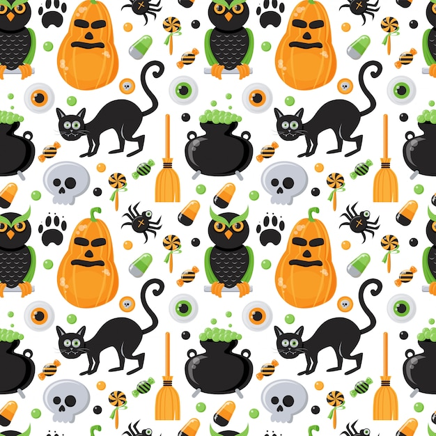 Seamless pattern with halloween theme Premium Vector