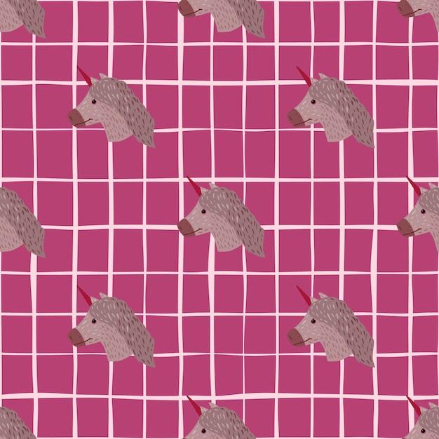 手描きの動物のようなユニコーンの飾りとのシームレスなパターン。ピンクの市松模様の背景に淡い紫色のポニーの顔。 Premiumベクター