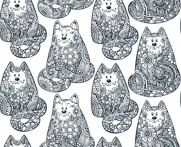 Premium Vector Seamless Pattern With Hand Drawn Doodle Graphic Cats With Floral Ornament Illustration For Fabric Coloring Book Print On Different Objects