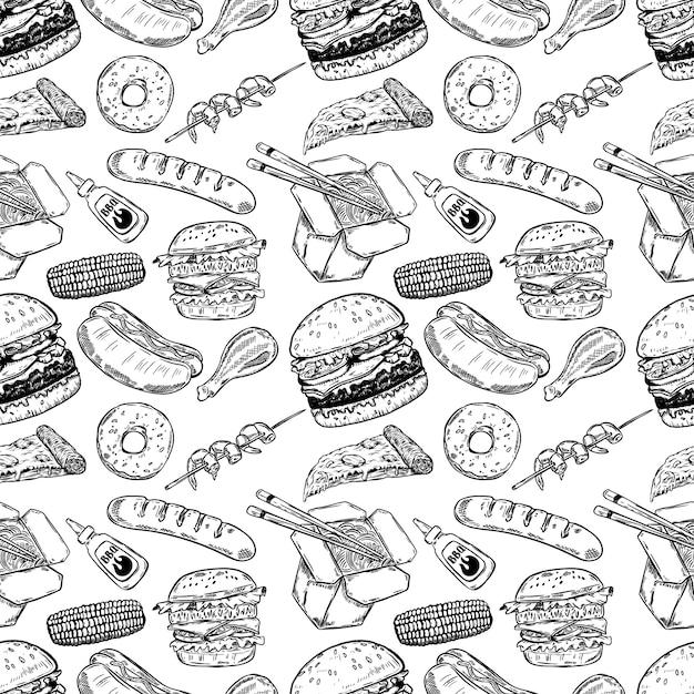 Бесшовные с рисованной фаст-фуд. бургер, пончик, хот-дог, китайская еда. иллюстрация Premium векторы