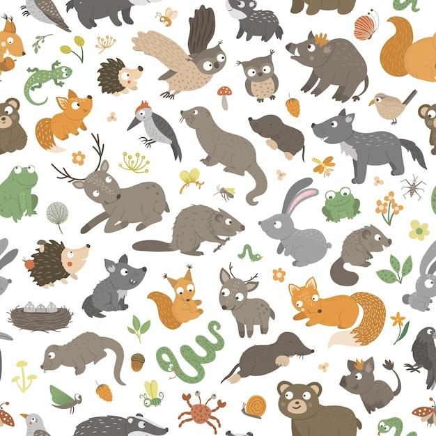 손으로 완벽 한 패턴 평면 재미있는 작은 아기 동물을 그려. 프리미엄 벡터