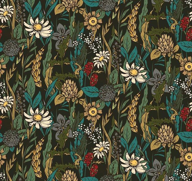 손으로 그린 꽃과 허브와 함께 완벽 한 패턴입니다. 화려한 아름다운 끝없는 배경. 프리미엄 벡터