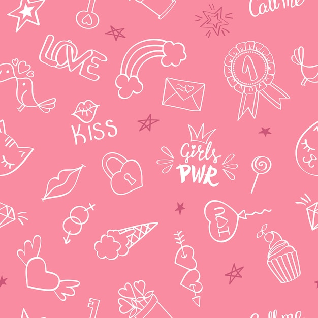 Seamless pattern with hand drawn girly doodles. repeating background with childish sketch design elements Premium Vector