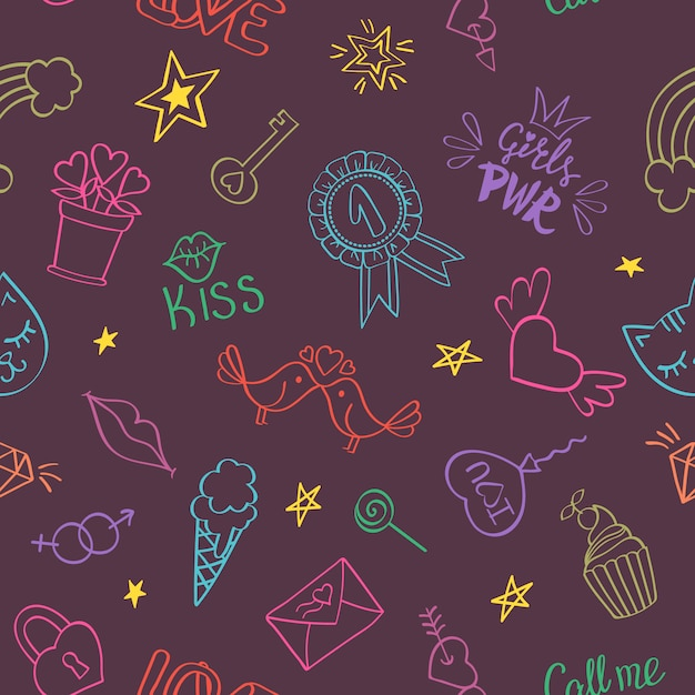 Seamless pattern with hand drawn girly doodles. repeating background with childish sketch design elements. Premium Vector