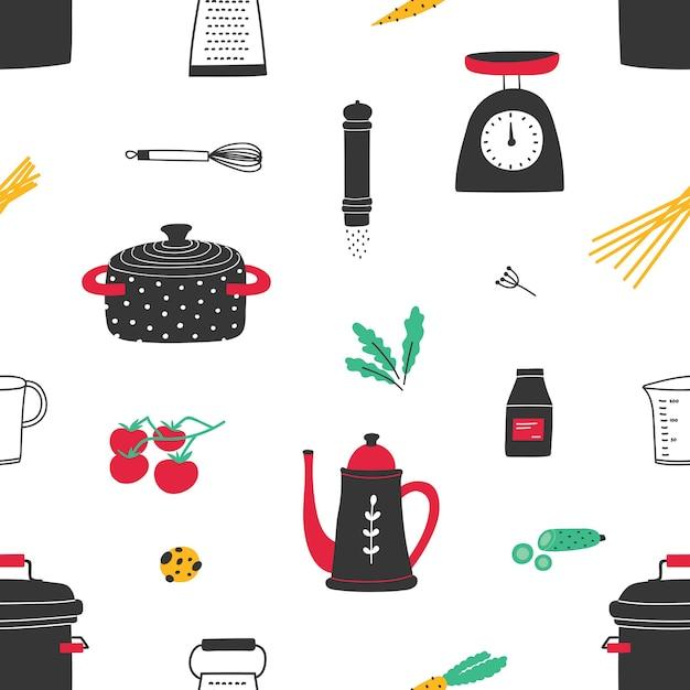 手でシームレスなパターンは白の調理器具を描画 Premiumベクター