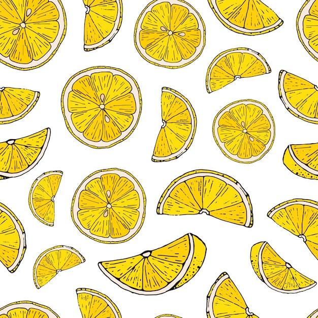 Seamless pattern with hand drawn lemons Premium Vector