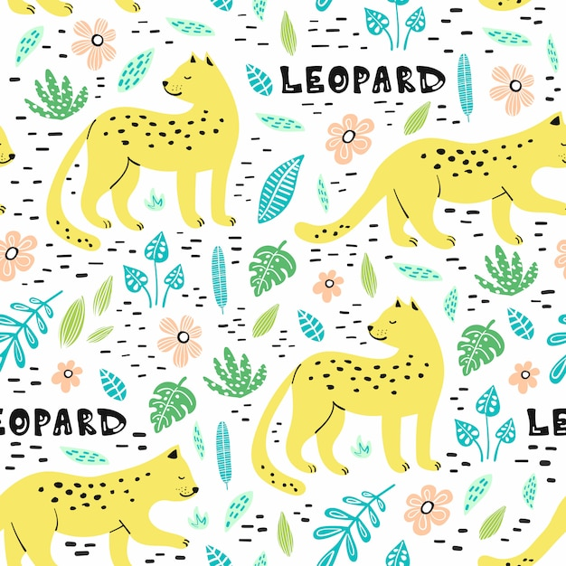 Seamless pattern with hand drawn leopards. Premium Vector