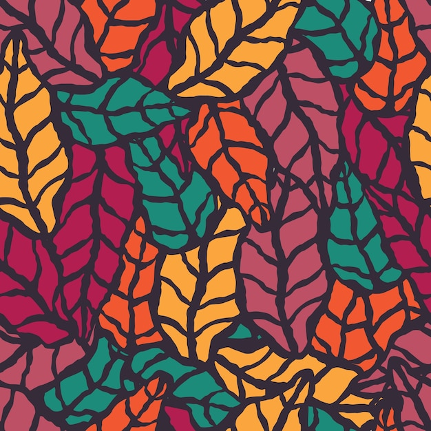 Seamless pattern with hand drawn natural leaves Premium Vector