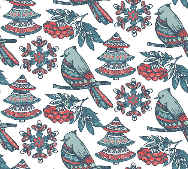 Seamless pattern with hand drawn ornate presents stars Premium Vector