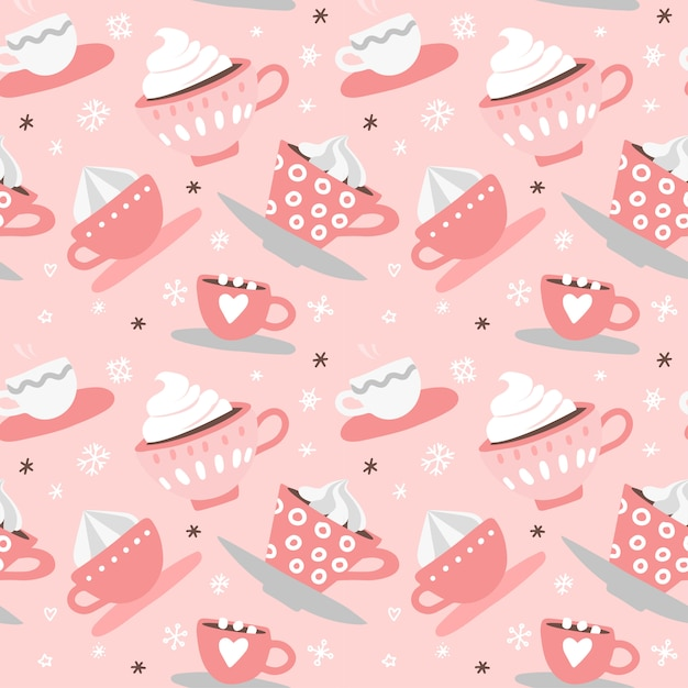 Seamless pattern with hand drawn pink valentine's day romantic cute cups, mugs, hearts, coffee, cocoa Premium Vector