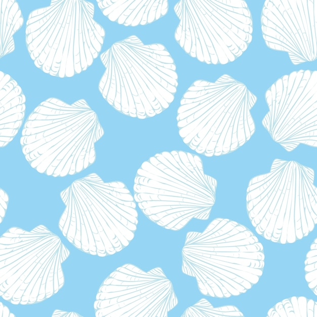 Seamless pattern with hand drawn scallop shells Premium Vector