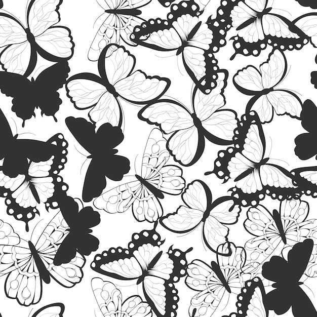 Seamless pattern with hand drawn silhouette butterflies, black and white Premium Vector