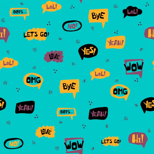 Seamless pattern with hand drawn speech bubbles with handwritten short phrases yes, bye, omg, wow, hi, lol, love, oops, no. vector Premium Vector